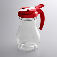 Vollrath 1412-02 Dripcut® 10 oz. Clear Polycarbonate Teardrop Syrup Server with Red Top
