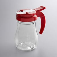 Vollrath 1606-02 Dripcut® 7 oz. Clear Polycarbonate Teardrop Syrup Server with Red Top