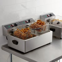 Galaxy EF20E 20 lb. Dual Tank Electric Countertop Fryer - 110V, 3300W