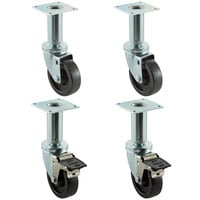 Pitco Equivalent 4 inch Swivel Adjustable Height Plate Casters for Fryers - 4/Set
