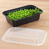 Pactiv Newspring NC-838-B 24 oz. Black 5 inch x 7 1/4 inch x 2 inch VERSAtainer Rectangular Microwavable Container with Lid - 150/Case
