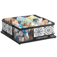 Cal-Mil 4033-85 Granada 9 Compartment Condiment Organizer with Removable Divider and Melamine Tile - 12 inch x 12 inch x 4 1/2 inch