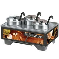 Vollrath 720201002 Full Size Soup Merchandiser Base with 4 Qt. Accessory Pack and Tuscan Graphics - 120V, 1000W