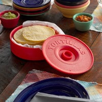 Choice 8 1/2 inch Red Tortilla Warmer / Server