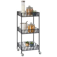Cal-Mil 4111-13 Portland Black 3-Tier Merchandiser Cart with Plastic Inserts - 15 inch x 14 inch x 35 inch