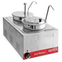 Avantco 12 inch x 20 inch Full Size Electric Countertop Food Warmer / Topping Station with 1 Condiment Pump & (1) 7 Qt. Inset with Lid and Ladle - 120V, 1200W