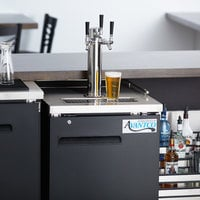 Avantco UDD-1-HC Triple Tap Kegerator Beer Dispenser - Black, (1) 1/2 Keg Capacity
