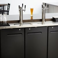 Avantco UDD-72-HC (2) Triple Tap Shallow Depth Kegerator Beer Dispenser - Black, (3) 1/2 Keg Capacity
