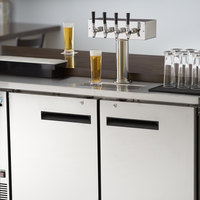 Avantco UDD-2-HC-S Four Tap Kegerator Beer Dispenser - Stainless Steel, (2) 1/2 Keg Capacity