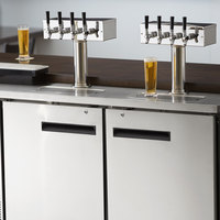 Avantco UDD-60-HC-S (2) Four Tap Kegerator Beer Dispenser - Stainless Steel, (2) 1/2 Keg Capacity