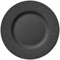 Villeroy & Boch 16-4074-2640 The Rock 8 1/2 inch Black Shale Flat Porcelain Plate - 6/Case