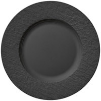 Villeroy & Boch 16-4074-2620 The Rock 10 1/2 inch Black Shale Flat Porcelain Plate - 6/Case