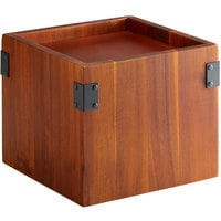GET Enterprises WB-959-W Urban Renewal 9 1/2 inch x 8 inch Walnut Square Riser for Acrylic Beverage Dispenser