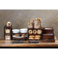 GET Enterprises Urban Renewal BB-SQ-7-W Walnut 12 1/4 inch x 6 inch x 6 inch Stackable Square Bread Box