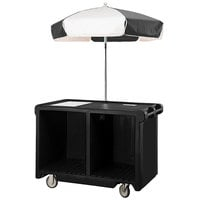 Cambro CVC55110 Camcruiser Black Vending Cart with Umbrella, 1 Counter Well, and 2 Storage Compartments