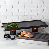 American Metalcraft CIG26 25 1/2 inch x 14 1/2 inch Reversible Cast Iron Griddle and Grill Pan with Handles
