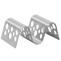 Tablecraft TRSP12 Stamped Circles Stainless Steel Taco Holder with 1 or 2 Compartments - 3 1/2 inch x 2 1/4 inch x 1 1/2 inch