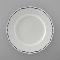 Tuxton SBA-104 TuxTrendz Charleston White 10 3/4 inch Scalloped Edge China Plate with Blue Band - 12/Case