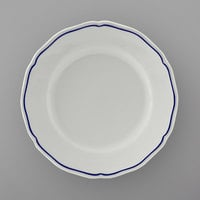 Tuxton SBA-064 TuxTrendz Charleston White 6 1/2 inch Scalloped Edge China Plate with Blue Band - 36/Case