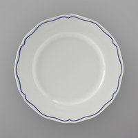 Tuxton SBA-122 TuxTrendz Charleston White 12 1/4 inch Scalloped Edge China Plate with Blue Band - 12/Case