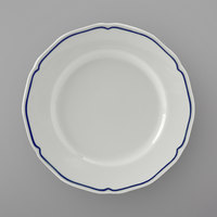 Tuxton SBA-074 TuxTrendz Charleston White 7 1/2 inch Scalloped Edge China Plate with Blue Band - 36/Case
