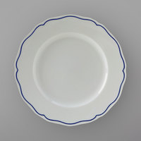 Tuxton SBA-090 TuxTrendz Charleston White 9 inch Scalloped Edge China Plate with Blue Band - 24/Case