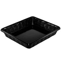 Black Wicker-Look Plastic Basket Without Holes - 12 inch x 14 inch x 2 inch