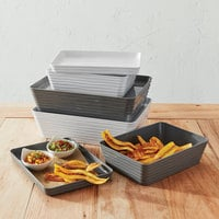 American Metalcraft BL14W Del Mar 14 inch x 10 inch Rectangular White Plastic Stackable Serving Tray / Lid
