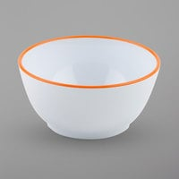 GET B-44-TG Settlement Oasis 10 oz. White Melamine Small Side Salad / Soup Bowl with Tangerine Orange Trim - 24/Case