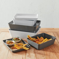 American Metalcraft BL14G Del Mar 14 inch x 10 inch Rectangular Gray Plastic Stackable Serving Tray / Lid