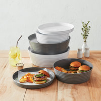 American Metalcraft BL12G Del Mar 12 inch Round Gray Plastic Stackable Serving Tray / Lid