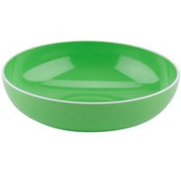 GET B-46-AP Settlement Oasis 1.7 Qt. Apple Green Melamine Large Serving Bowl with White Trim