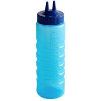 Vollrath 2324C-44 Traex® Color-Mate™ 24 oz. Blue Twin Tip™ Ridged Wide Mouth Squeeze Bottle