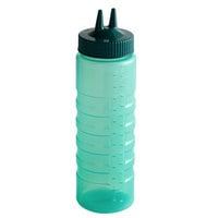 Vollrath 2324C-191 Traex® Color-Mate™ 24 oz. Vista Green Twin Tip™ Ridged Wide Mouth Squeeze Bottle