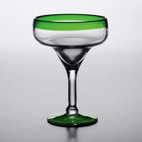 Acopa Tropic 12 oz. Margarita Glass with Green Rim and Base - 12/Case