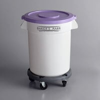 Baker's Mark Allergen-Safe 20 Gallon / 320 Cup White Round Mobile Ingredient Storage Bin with Purple Lid and Gray Dolly