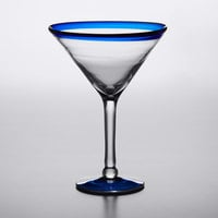 Acopa Tropic 15 oz. Martini Glass with Blue Rim and Base - 12/Case