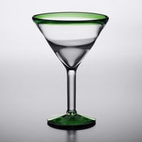 Acopa Tropic 24 oz. Martini Glass with Green Rim and Base - 12/Case