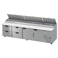 Beverage-Air DPD119HC-4 119 inch Refrigerated Pizza Prep Table with Two Doors and Four Drawers