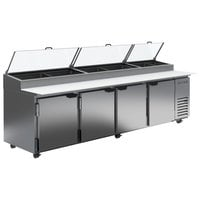 Beverage-Air DP119HC-CL 119 inch 4 Door Clear Lid Refrigerated Pizza Prep Table