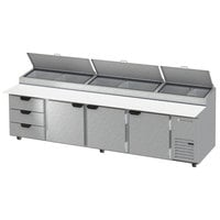 Beverage-Air DPD119HC-3 119 inch Refrigerated Pizza Prep Table with Three Doors and Three Drawers