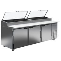 Beverage-Air DP93HC-CL 93 inch 3 Door Clear Lid Refrigerated Pizza Prep Table