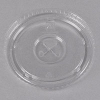 Fabri-Kal LKC16/24 Kal-Clear / Nexclear 12 / 14, 16 / 18, 20, and 24 oz. Clear Plastic Flat Lid with Straw Slot - 100/Pack