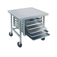 Advance Tabco MT-MG-300 30 inch x 30 inch Stainless Steel Mobile Mixer Table with Galvanized Base and Tray Slides