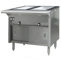 Eagle Group HT2CB-NG Spec Master Series Two Pan Open Well Natural Gas Hot Food Table with Sliding Doors - 7,000 BTU