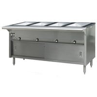 Eagle Group HT4CB-120 Spec Master Series Four Pan Open Well Electric Hot Food Table with Sliding Doors -120V