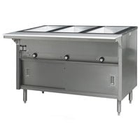 Eagle Group HT3CB-NG Spec Master Series Three Pan Open Well Natural Gas Hot Food Table with Sliding Doors - 10,500 BTU
