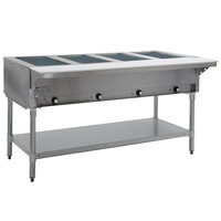 Eagle Group DHT4-240-3 Four Pan Open Well Electric Hot Food Table with Galvanized Base - 240V, 3 Phase
