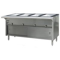Eagle Group HT4CB-240-3 Spec Master Series Four Pan Open Well Electric Hot Food Table with Sliding Doors - 240V, 3 Phase