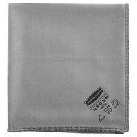 Rubbermaid 1867398 HYGEN Executive Series 16 inch x 16 inch Gray Microfiber Glass / Polishing Cloth - 12/Pack